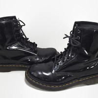 Vintage Doc Martens Boots | 1460 | Black Patent Leather Boots | 8 Eyelet | Distressed Combat Boots | 90s Doc Marten Air Wair | 8 US 39 EU