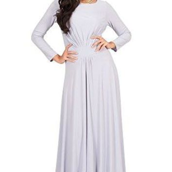 KOH KOH Petite Size Womens Long Sleeve Flowy Empire Waist Fall Winter Party Gown Maxi Dress, Color Gray, Size Extra Small / XS / 2-4 (1)