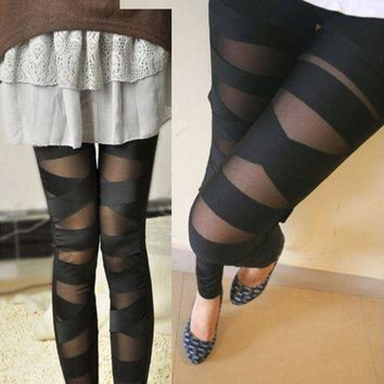 DCCKH6B Leggings Mesh Womens Leggings Sexy Halloween Gothic Legging Slim Black Punk Rock Cross Elastic Bandage Femme Pants