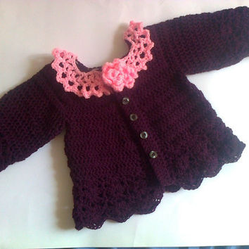 Crochet baby sweater in purple pink accent, newborn coat, infant cardigan, baby outfit, take home dress, baby clothes