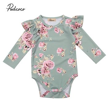 2017 Brand New Newborn Toddler Infant Baby Girl Floral Bodysuit Ruffled Long Sleeve Jumpsuit Outfits Autunm Clothes