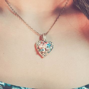 Origami Lotus Heart Locket Necklace
