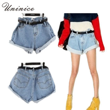 Vintage Lady Denim Shorts Fashion Women's Loose Jeans Shorts Casual Short Pants Summer style High-waist Short Women 4E1041