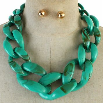 """18"""" resin large chain link choker collar necklace .25"""" earrings"""