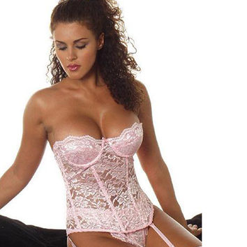 Hot Sales Pink Lace Body Shaper Top For Women Overbust Sexy Palace Lingerie Higher Quality With Thong And Garters CF48