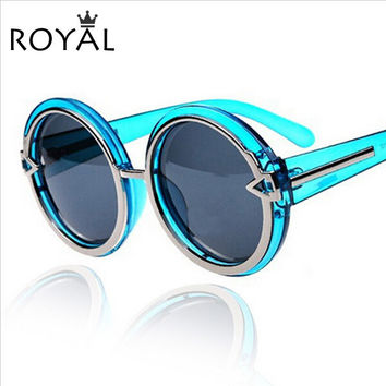 ROYAL GIRL High Quality Women brand sun glasses Rounded Frame sunglasses thick chunky shades female