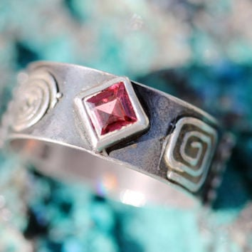 Pink Tourmaline, Ring, Sterling Silver, Band, Vintage, Boho, Indie, Stackable, Gypsy, Fashion Jewelry