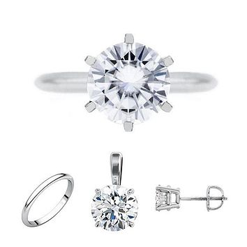 FAB Round Moissanite 6 Prong Ring Complete 14K White Gold Solitaire Wedding Set