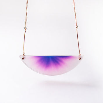 chromatography necklace . gradient twilight purple . 14k gold filled chain . acrylic cover