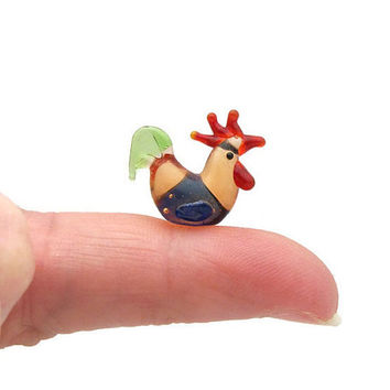 Tiny Blown Glass Rooster Figurine - Micro Miniature Blown Glass Rooster - Teeny Rooster Chicken Bird