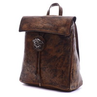Retro brown leather backpack for women | cross shoulder bag - $198.00 : Notlie handbags, Original design messenger bags and backpack etc