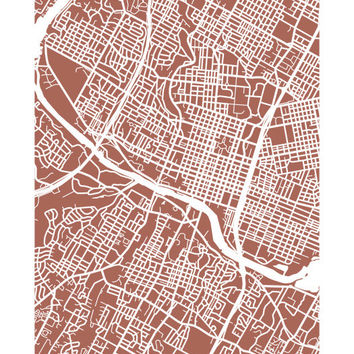 Austin, Texas City Map Art Poster Print - Choose your color