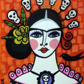 8x10 PRINT Frida Kahlo Day of the Dead by CollectArtwork on Etsy