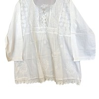 Mogul Interior Womens Tunic Elegant Crochet Lace Hem Ivory Floral Hand Embroidered Summer Cover Up Top Blouse L