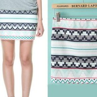 Geometric Wrap Mini Skirt