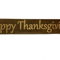 Rustic Barn Wood Sign Handpainted Happy Thanksgiving, Beautiful Wooden Decor, Simple Cottage Design, Creamy Golden Yellow