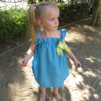 Blue toddler dress yellow bow, baby peasant dress, baby wedding dress, blue yellow flower girl dress