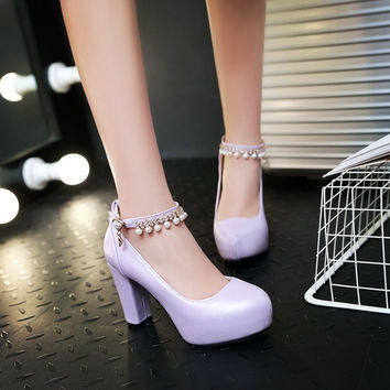 PU Round Toe Pearl High Block Heel Ankle Strap Pumps