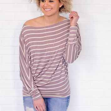 * Yuma Striped Off The Shoulder Dolman Top : Ivory/Coco