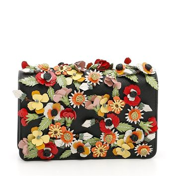 Prada Saffiano Garden Floral Crossbody Bag Floral Applique Misto 1BP006