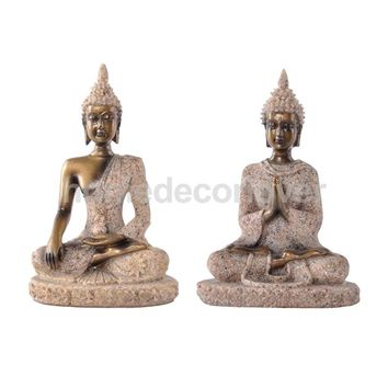 2 Pieces The Hue Sandstone Joss Buddha Statue Sculpture Hand Carved Figurine