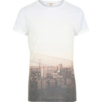 River Island MensWhite sepia city print short sleeve t-shirt