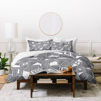 Heather Dutton Fragmented Grey Duvet Cover
