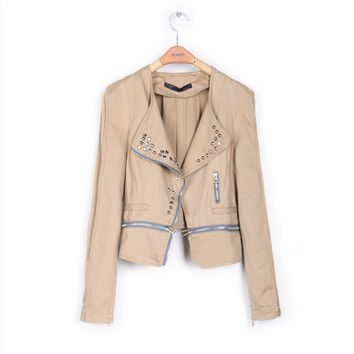 Khaki Punk Style Short Motorcycle Jackets