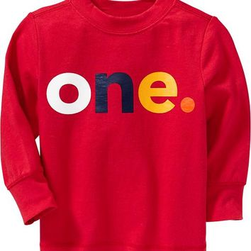 "Old Navy ""One"" Tees For Baby Size 12-18 M - Robbie red"