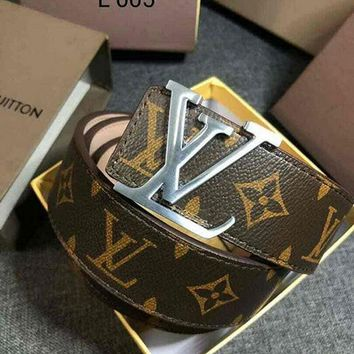 LV classic tide brand wild simple men and women smooth buckle belt Coffee Monogram
