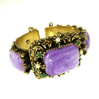 Vintage Bracelet Brass Floral Setting Purple Lucite Green Rhinestone and Seed Pearls