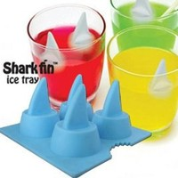 Amazon.com: Funny Shark Fin Ice Cube Tray 4-tray Eco-friendly Silicone Ice Mould Blue/gray (1 Pieces): Kitchen & Dining