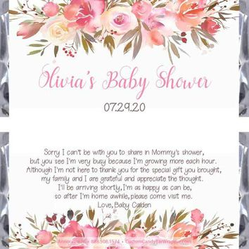 Floral Baby Shower Candy Bar Wrappers