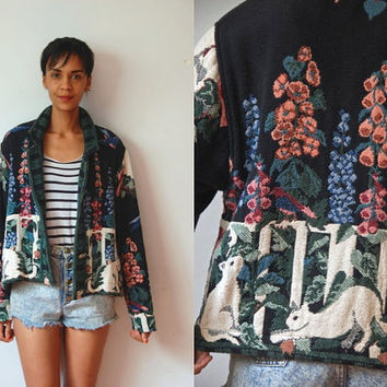 Vtg Tapestry Cats Floral White Fence Garden Print Buttoned Jacket