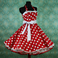 50's vintage dress full skirt red white by Lolablossomclothing