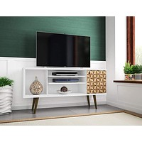 """Liberty 53.14"""" Mid-Century Modern Living Room TV Stand, Small, White/3D Print"""