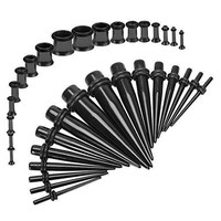 BodyJ4You Gauges Kit Black Tapers Black Plugs Steel 14G-00G Stretching Set 36 Pieces