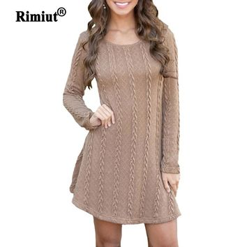Rimiut Women Causal Plus Size S-5XL Short Sweater Dress Female Autumn Winter White Long Sleeve Loose knitted Sweaters Dresses