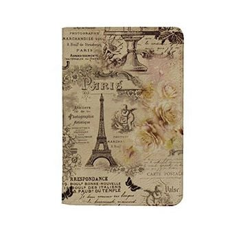 Vintage France Paris Leather Business ID Passport Holder Protector Cover _SUPERTRAMPshop