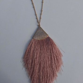 Tread Tassel Necklace - Dusty Pink