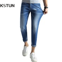 KSTUN Jeans Stretch Men Skinny Slim Fit Light Blue Thin Quality Brand Jeans For Man Cropped Ankle Length Trousers Casual Pants