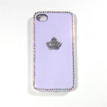 Light Purple Crown Phone Case with Swarovski Crystal Outline for iPhone 4/4s or iPhone 5