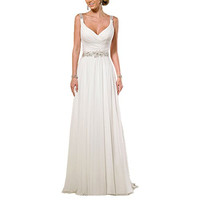 Women's Chiffon V Neck Shoulder Straps Long Wedding Evening Dress