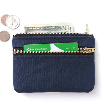Coin Purse Wallet Double Zipper Pouch Canvas Coin Purse Navy Blue