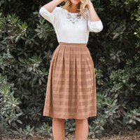 Cindy Mocha Striped Midi Skirt