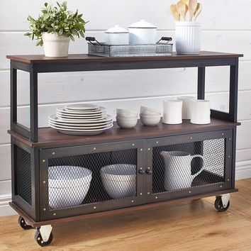 Industrial Style Rolling Buffet Cart Kitchen Island Vintage 3 Tiers Storage