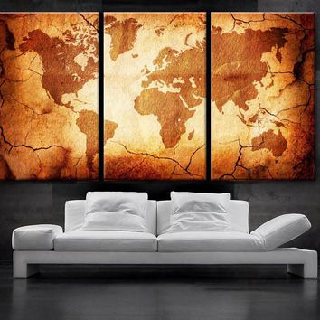 "LARGE 30""x 60"" 3 Panels Art Canvas Print  World Map Old texture Wall Home Office decor interior (Included framed 1.5"" depth)"