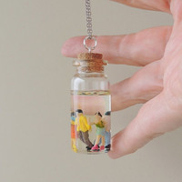 Little People Bottle Necklace, Whimsical Figures Resin Bottle Pendant, Resin Jewelry, Quirky Jewelry, Kitsch (1868)