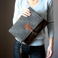 Large Leather fold over clutch, fold over bag, fold over purse, wool and brown leather clutch with leather charm