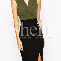 Army Green Suiting Buisness Monteau Tahari Workplace Sleeveless Color Block Split Dress -SheIn(Sheinside)